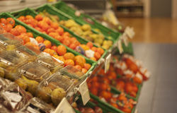 Fruit and vegetables section in a grocery store Stock Photo