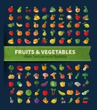 Fruit and vegetables. Set of icons. Fresh food Stock Images