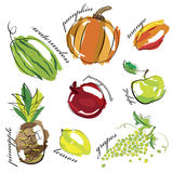 Fruit and vegetables set icons Royalty Free Stock Images
