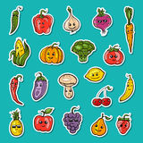 Fruit and vegetables set. Illustration of fruit and vegetables set Stock Photos