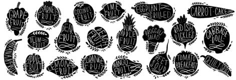 Fruit and vegetables set silhouettes with lettering. Isolated objects on white background. Fruit and vegetables logo or element fo royalty free illustration