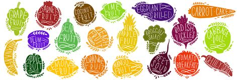 Fruit and vegetables set silhouettes with lettering. Isolated objects on white background. Fruit and vegetables logo or element fo vector illustration