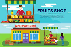 Fruit and vegetables shop counter vector building Stock Image