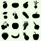 Fruit and vegetables silhouettes Stock Images