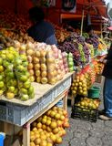 Fruit and vegetables at South American Market. Fruit and vegetable display at South American Market Royalty Free Stock Images