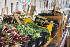 Fruit and vegetables stall in a Venetian boat Royalty Free Stock Photography
