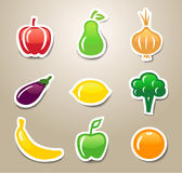 Fruit and vegetables stickers. Stickers with fruit and vegetables Stock Images
