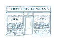 Fruit and vegetables store facade hand drawn vector illustration. Fruit and vegetables front vector illustration on hand drawn style. Line drawing of the facade royalty free illustration