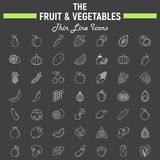 Fruit and Vegetables thin line icon set. Food symbols collection, vegetarian vector sketches, logo illustrations, linear pictograms package  on black Royalty Free Stock Photos