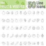 Fruit and Vegetables thin line icon set, vegan royalty free illustration
