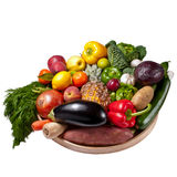 Fruit and vegetables tray - white background Royalty Free Stock Photography