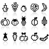 Fruit and Vegetables vector icon set Stock Image