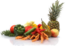 Fruit and vegetables on white background Royalty Free Stock Photo