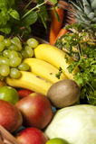 Fruit and Vegetables in Wicker Basket Stock Photos