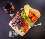 Fruit, Vegetables and Wine Stock Photography