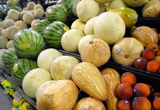 Fruit and Veggies. Fruit and vegetables stacked on a produce stand Stock Photography