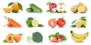 Fruit vele vruchten en groenteninzameling geïsoleerde appelorang-oetan stock foto's