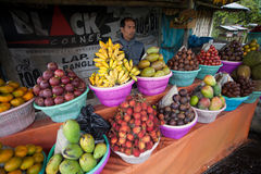 Fruit vendor. BALI - JANUARY 20. Balinese fruit stall owner selling his produce in Bali on January 20, 2012 in Bali, Indonesia. Most fruit is used for offerings Stock Photos