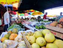 Fruit vendor at Caribbean market Royalty Free Stock Photos