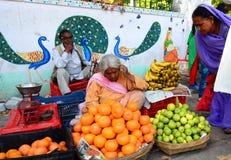 Fruit vendor. Saheliyon Ki Bari garden. Udaipur. Rajasthan. India Stock Image
