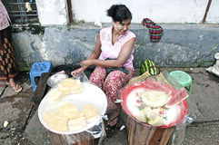 Fruit vendor on street yangon myanmar Royalty Free Stock Photo