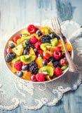 Fruit verse gemengde tropische fruitsalade Kom van gezonde verse gestorven fruitsalade - en geschiktheidsconcept stock foto's