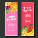 Fruit vertical banner. Strawberry, grape, orange, apple, banana, additional file in eps 10 royalty free illustration