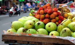 Fruit in Vietnamese street in Ho Chi Minh city, Vietnam.  Royalty Free Stock Photos