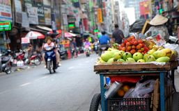 Fruit in Vietnamese street in Ho Chi Minh city, Vietnam.  Royalty Free Stock Image