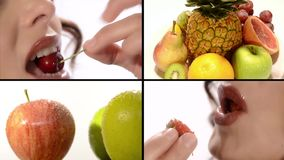 Fruit, vitamins, wellness, beauty. Woman eating healthy food collage