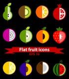 Fruit vlakke pictogrammen Stock Afbeelding