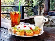 Fruit waffle Stock Photos