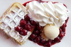 Fruit waffles Stock Photos