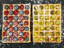 Fruit Waffles with Raspberries Blueberries and Kiwi Fruit and Ic Stock Image