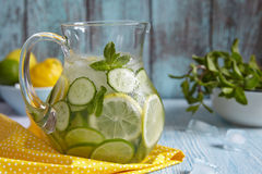 Fruit water in glass pitcher. Fruit water with lemon, lime, cucumber and mint in glass pitcher Stock Photography