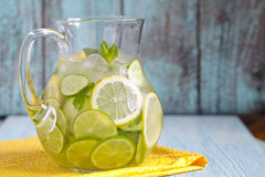 Fruit water in glass pitcher Stock Image