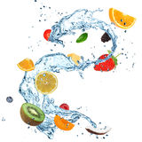Fruit Water splash. Over white background stock illustration