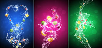 Fruit In Water Splash Background Set Stock Photography