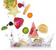 Fruit with water splash. Fresh fruit with water splash royalty free stock photo