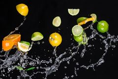 Fruit with water splash Royalty Free Stock Photography