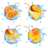 Fruit in a water splash. Set of realistic splashes of water, fruit and fruit slices. Mango, peaches, bananas, oranges. Vector illustration royalty free illustration