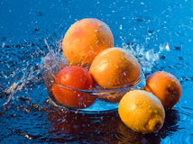 Fruit and water splashes. On a dark blue background Royalty Free Stock Photography