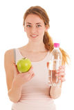 Fruit and water after work out Stock Photos