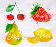 Fruit watercolor cherry, lemon, strawberry, pear. Fruit set drawn watercolor blots and stains with a spray cherry, lemon, strawberry, pear Royalty Free Stock Images
