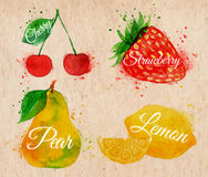 Fruit watercolor cherry, lemon, strawberry, pear. Fruit set drawn watercolor blots and stains with a spray cherry, lemon, strawberry, pear in kraft Stock Image