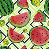 Fruit watercolor pattern Royalty Free Stock Photography