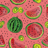Fruit watercolor pattern. Summer seamless pattern with watermelon and kiwi fruit. Watercolor background Stock Photo
