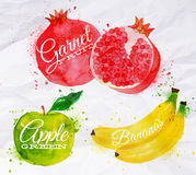 Fruit watercolor watermelon, banana, pomegranate,. Fruit set drawn watercolor blots and stains with a spray banana, pomegranate, apple green Stock Photo