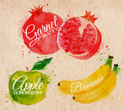 Fruit watercolor watermelon, banana, pomegranate,. Fruit set drawn watercolor blots and stains with a spray banana, pomegranate, apple green in kraft Stock Photo