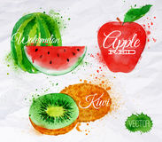 Fruit watercolor watermelon, kiwi, apple red Stock Photo